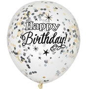 Happy Birthday Black & Gold Confetti Party Balloons