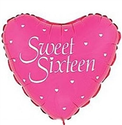 Pink & White Sweet Sixteen Heart Shaped Mylar Balloon