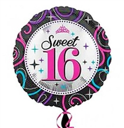 Sweet 16 Celebrations Round Mylar Balloon