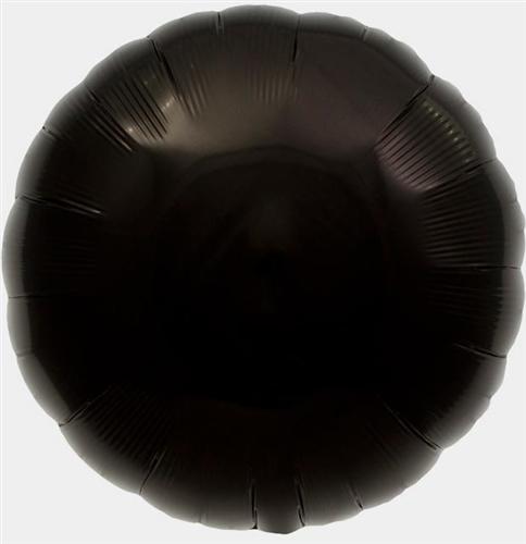 black mylar round shaped balloon