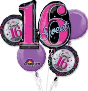 5pc Sweet 16 Mylar Balloon Bouquet