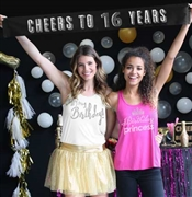 Cheers to 16 Years Silver Foil & Rhinestone Satin Banner