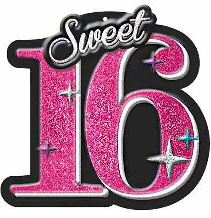 Glitter Sweet 16 Wall Decoration | Sweet 16 Party Supplies