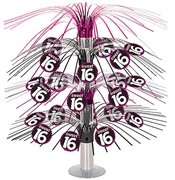Pink & Black Cascade Sweet 16 Centerpiece