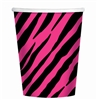 Pink & Black Zebra Party Cups