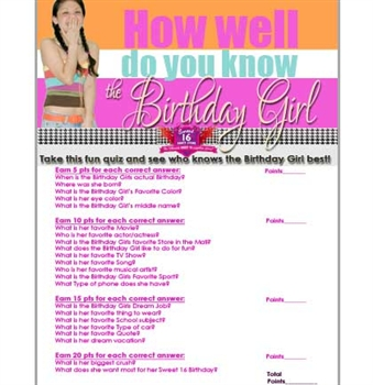 FREE Sweet 16 Birthday Girl Quiz