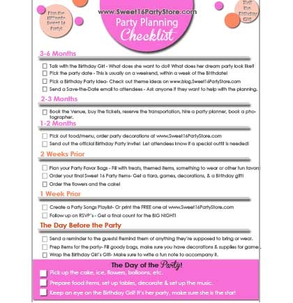 FREE Sweet 16 Party Checklist Store