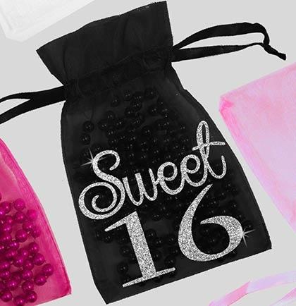 Glitter Girly Sweet 16 Organza Favor Bag   Sweet 16 Supplies