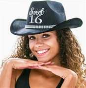 Black Western Glitter Girly Sweet 16 Hat