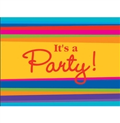 It's a Party Stripe Invitations: 8 Count