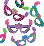 Assorted Feather Party Masks: 6pc