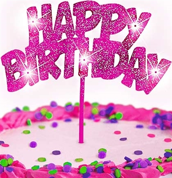 Pink Glitter Happy Birthday Cake Topper Party Supplies