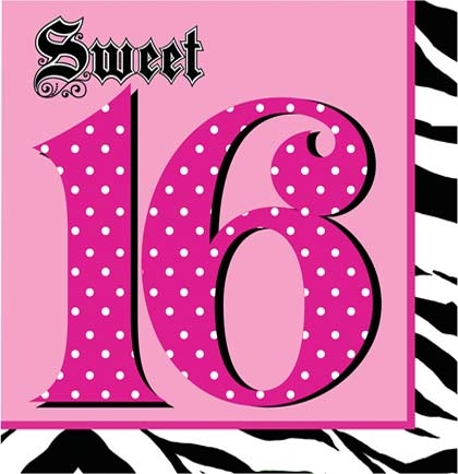Animal Print Sweet 16 Napkins | Sweet 16 Party Decorations ...