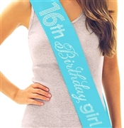 16th Birthday Girl Rhinestone Sash