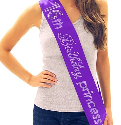 16th Birthday Princess Rhinestone Sash Sweet 16 Sashes