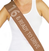 16 & Ready to Drive Rhinestone Birthday Sash