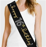 Gold  Happy 16th Birthday Foil & Rhinestone Sash
