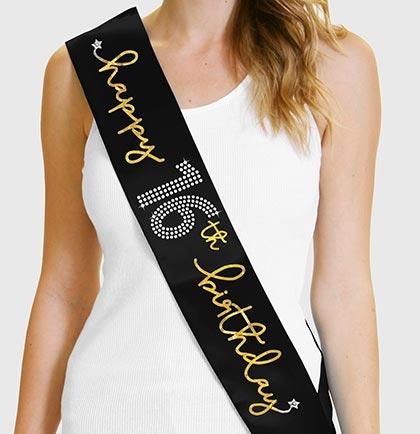 Gold Happy 16th Birthday Foil Amp Rhinestone Sash Sweet 16