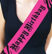 Happy Birthday Pink Zebra Satin Sash