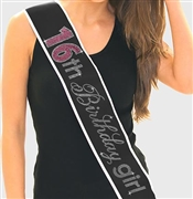 Pink Gem 16th Birthday Girl Rhinestone Sash