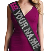 Pink Sweet 16 Custom Name Rhinestone Sash
