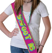 Sweet 16 Pink & Green Satin Sash