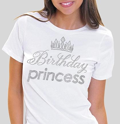 Birthday Princess With Crown Rhinestone Tee Sweet 16