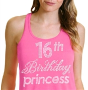 16th Birthday Princess Flowy Racerback Tank Top | Sweet 16 Shirts