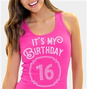 It's My Birthday '16' Frame Rhinestone Tank Top | Sweet 16 Shirts