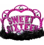 Sweet 16 Black Marabou Trim Tiara