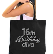 16th Birthday Diva Rhinestone Tote