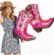 "Giant 36"" Pink Cowgirl Boots Mylar Balloon"