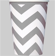 Silver & White Chevron Cups