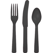 Solid Black Party Cutlery