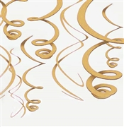 Set of 8 Gold Swirl Danglers