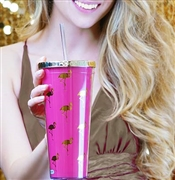 Flamingo Pink & Gold Tumbler w/Straw