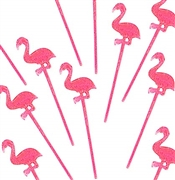 Set of 24 Pink Flamingo Picks