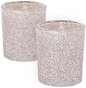 Silver Glitter Candle Holders