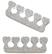 Set of 2 Silver Glitter Toe Separators