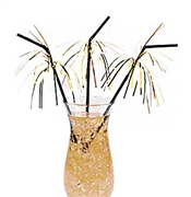 Gold Foil Fringe Black Straws