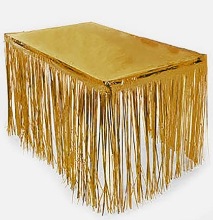 Fringe Gold Table Skirt Sweet 16 Party Decorations