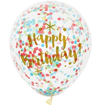 Happy Birthday Multi-Colored Confetti Party Balloons