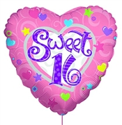 Pink & Purple Sweet 16 Heart Shaped Mylar Balloon