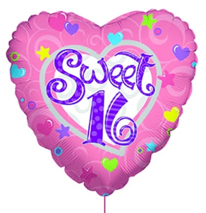 Pink Purple Sweet 16 Heart Shaped Mylar Balloon