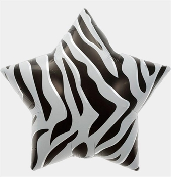 Black Animal Print Mylar Star Shaped Balloon