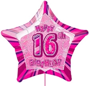 Happy 16th Birthday Star Shaped Balloon