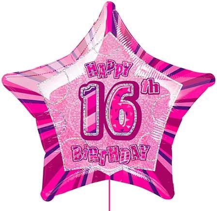 Happy 16th Birthday Star Shaped Balloon Larger Photo