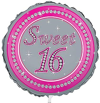 Pink & Silver Sweet 16 Balloon