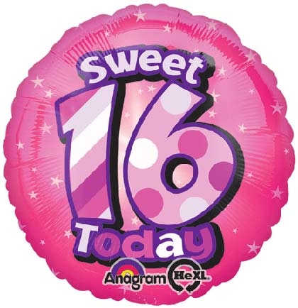 Sweet 16 Today Round Balloon