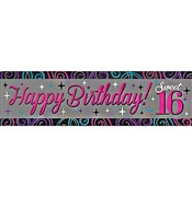 Happy Birthday Sweet 16 Banner:5 FT